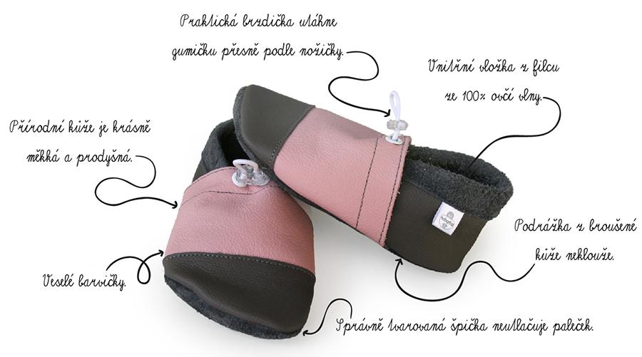 Měkké barefoot capáčky z kvalitní kůže s vyjímatelnou vložkou ze 100% ovčí vlny udrží naše malé nohatky hezky v teple.